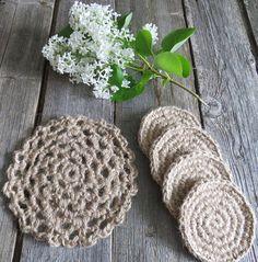 Set coasters kitchen Cup holders Crochet coasters Rustic decor