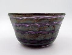 Metallic Glass Bowl, Purple and Black Bowl, Fruit Bowl, Candy Bowl, Silver Spiral Bowl, Purple Glassware, Glass Dessert Dish