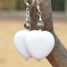 White Marble Hearts Pyrite Valentines Earrings Handmade Beaded Jewelry   ShadowDogDesigns - Jewelry on ArtFire