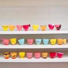 Totally cute. Tea cups made from plastic Easter eggs. I just may do this as party favors or a craft during the party.