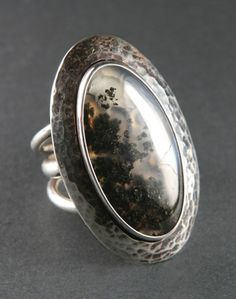 Eagle Rock Plume Agate and Sterling Silver Ring. The texture of the metal is great with the pattern of the stone, and the patina pulls the colors as well.
