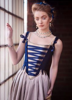 SAMPLE Georgian Corset size XS in Navy Velvet and Pewter Leather, Historically Inspired 18th Century Corset Marie Antoinette Rococo Cosplay