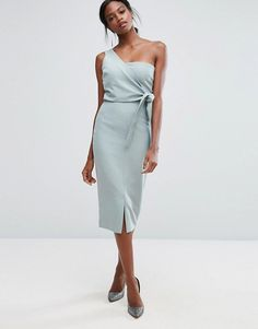 Lavish Alice One Shoulder Pencil Dress With Tie Detail