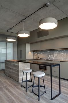 Kitchen I Island I Urban I Stool I Light I Interior Design I Marble I wood I Floor.