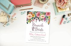 Printed Set of Brunch with the Bride Invitations- Floral- Plum and Pink- Watercolor- Bridal Shower- Envelopes Included by 4414Designs on Etsy