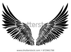 Vector illustration on white background. Black and white style. Ankle Tattoo Men, Wing Tattoo Men, Neck Tattoo For Guys, Hand Tattoos For Guys, Eagle Wing Tattoos, Leg Tattoos, Latest Tattoo Design, Tattoo Designs, Justin Bieber Wings Tattoo