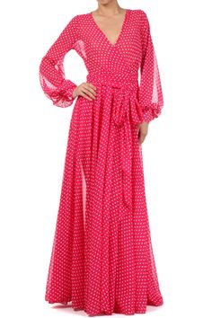 86.00 - Put some sparkle in your style with this pink Sheer full length polka dot dress with a surplice neckline, cinched waist, and waist tie, ebuybit.com