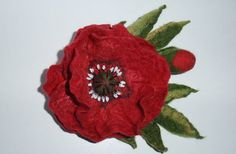 felted flower pin. Felted wool flower brooch pin by WoolFeltArt, $28.00