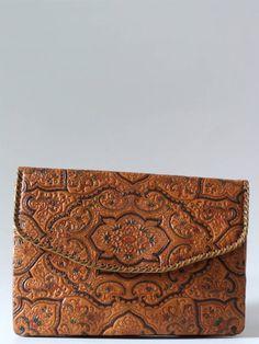 Vintage 30's handtooled bewerkt leren clutch bloemen - Tassen & portemonnees - Vintage