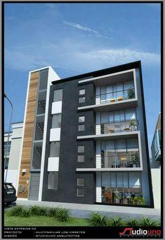 Edificio de departamentos Home Building Design, Building Facade, Building Exterior, Facade Design, Exterior Design, Modern Architects, House Elevation, Facade Architecture, Modern Buildings