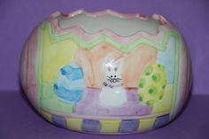 GAC Painted Ceramic Easter Egg Bunny Rabbit Candy Dish Bowl 1998 hostess gift