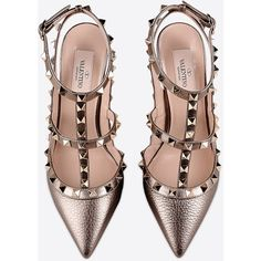 Valentino Rockstud ankle strap ($1,045) ❤ liked on Polyvore featuring shoes, heels, valentino shoes, ankle tie shoes, ankle strap shoes and ankle wrap shoes
