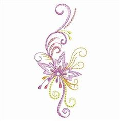 Colorful Abstract Flower embroidery design