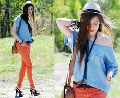 Zara Orange Pants, Heels, Vintage Bracelets, C Hat, Stradivarius Denim Shirt, Zara Bag