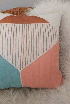 This geometric design is painted by hand in blocks of metallic copper, dusty pink, and smoky teal on white linen. Looks great with my Copper Metallic Splatter Pillow.  This pillow is backed in natural melange coloured linen. High quality fabric, premium non-toxic fabric paint, clean finished