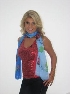 #ladybug #silk #scarf worn by our lovely #daliadagher #tv #presenter on #ArabWomenTV