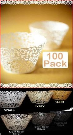 100 x White Pearl Lace Filigree Wedding Cupcake Wrapper Baking Cake Cups Wraps