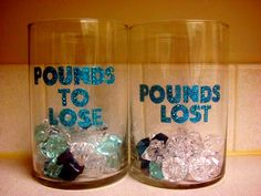 A cute way to track your weight loss. You can make it for only a few bucks at the dollar stores. :)