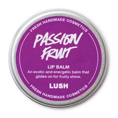 love this lip balm - For a glossy, fruity finish on your lips, slap on some Passion Fruit. Flavored with passionflower and vanilla, this lip balm delivers rich hydration without making lips feel sticky, thanks to an expertly blended formula of extra virgin coconut oil, nutritious moringa oil and emollient candelilla wax.