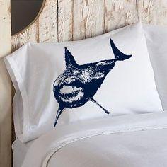 SHARK Pillowcase cover Mouth teeth jaws WEEK NAUTICAL tiger bull sharks room decor vintage Sea pillow case navy blue fishing fish via Etsy