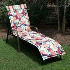 Plantation Patterns Hampton Bay Hideaway Floral Outdoor Sling Chaise Lounge Cushion available at The Home Depot. Chaise Cushions, Outdoor Cushions, Outdoor Furniture, Outdoor Decor, Sun Lounger, Backyard, Patterns, Floral, Design