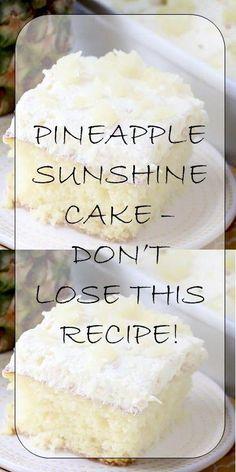 Latest News: Bbc Entertainment Goggle Images 2019 10 pineapple sunshine cake dont lose this Cake Mix Recipes, Baking Recipes, Köstliche Desserts, Delicious Desserts, Food Cakes, Cupcake Cakes, Cake Cookies, Easy Pineapple Cake, Pineapple Dessert Recipes