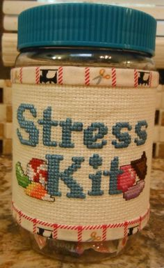 STRESS KIT Cross Stitched & Sewn Candy Jar  by CraftyCrossStitches, $10.00
