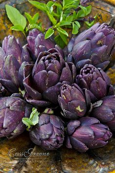 ❥ Deep purple mini artichokes~ I love artichokes!