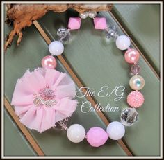 Chunky bubblegum shabby flower necklace by TheEandGCollection
