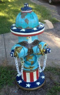 "Route 66 Sullivan, Missouri Fire Hydrant ""Tribute to the U.S. Marine Corps (front) & U.S. Navy (back)."""
