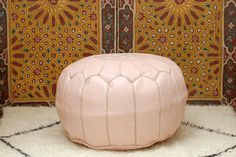 Light Pink, Moroccan Pouf, Leather, Handmade