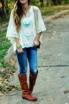 Lace Poncho & Riding Boots