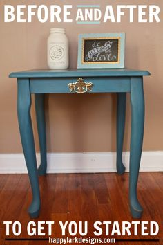 Blue side table makeover - before and after using Annie Sloan chalk paint