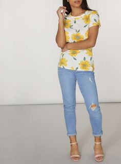 Womens White Sunflower Print T-Shirt- White