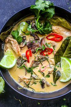 Mushroom Tom Kha Soup by Recipe as posted by chocolateforba… – Simple Food Vegan Best Vegan Recipes, Vegetarian Recipes, Vegan Soups, Favorite Recipes, Healthy Soups, Keto Recipes, Healthy Food, Healthy Eating, Yummy Food