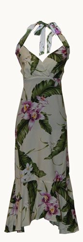 Orchid Cream Halter Hawaiian Dress