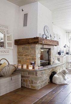 amenajari, interioare, decoratiuni, decor, design interior, stil shaby chic, scandinav, alb, rustic, living, semineu, piatra