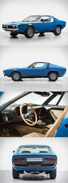 1971 Alfa Romeo Montreal / Marcello Gandini for Bertone / 197hp 2.6l V8 / blue / Italy / Uncrate.com