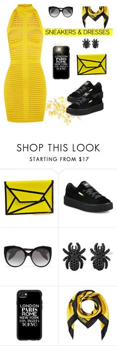 """""""#sneakersanddresses"""" by liligwada ❤ liked on Polyvore featuring MMS Design Studio, Puma, Alexander McQueen, Casetify, Moschino and Balmain"""
