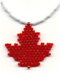 Free Bead Patterns and Ideas : Maple Leaf Pattern and Learning basic Brick Stitch