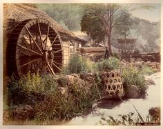 Hand Coloured Photographic Image of an Edo / Meiji Era - Water-Wheel