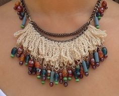 Necklace With Crochet Fringe Ruffle & Glass Beads Etsy.com/CarlaKnittings