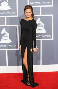 Chrissy Teigen black dress with slit (2012 Grammy Awards)