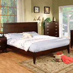 Crystal Lake Transitional Brown Cherry Solid Wood Full Bed