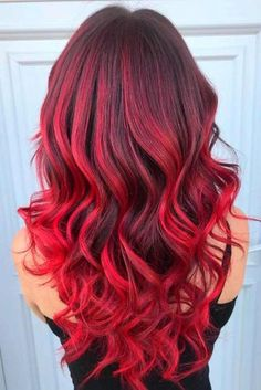 37 Best Red Ombre Hair Color Ideas for Long Hair Red Ombre Hairstyle For Curly Hair Best Ombre Hair, Brown Ombre Hair, Red Hair Color, Cool Hair Color, Red Color, Red Ombre Hair Color, Hair Colors, Long Curly Hair, Curly Hair Styles