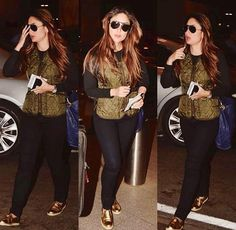 Looking awesome in golden and black jeans top Dressy Outfits, Chic Outfits, Work Outfits, Bollywood Fashion, Bollywood Style, Karena Kapoor, Minimalist Fashion, Minimalist Style, Airport Look