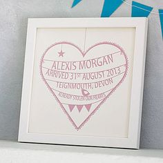 Personalised New Baby Heart Print Want to do this as a paper cut!