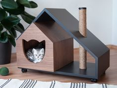 Human-Friendly Multifunctional Furniture for you and your Cats and Dogs - Un mob. - Human-Friendly Multifunctional Furniture for you and your Cats and Dogs – Un mobilier multifoncti - Pet Furniture, Furniture For You, Multifunctional Furniture, Cat Playground, Cat Room, Cat Tree, Animal House, Dog Houses, Animal Design