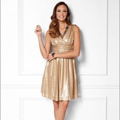 New York & co gold sequin dress large EUC gold sequin dress from NY & CO's Eva mendes collection. Size large. Perfect party dress! New York & Company Dresses