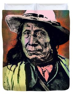 Red Cloud Duvet Cover featuring the painting Chief Red Cloud-oglala Lakota Sioux by Otis Porritt